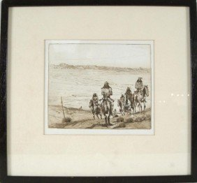 Ed Borein Etching - Plate Signed - Tonto  Apaches