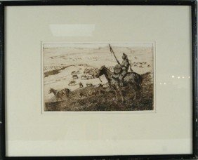 "Edward Borein Etching 6.75""x10.75"""