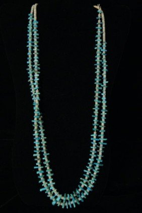Turquoise Hishi Nugget 2 Strand Necklace