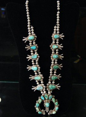 Old Pawn Squash Blossom Turquoise Silver Necklace