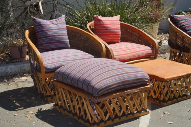 Equipale Mexican leather patio furniture 4pcs Lot 256