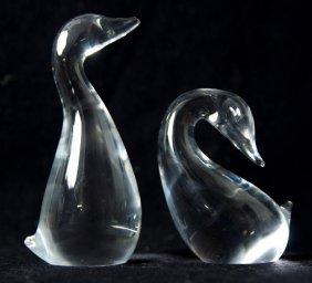 Steuben Crystal Figurines 'goose & Gander'