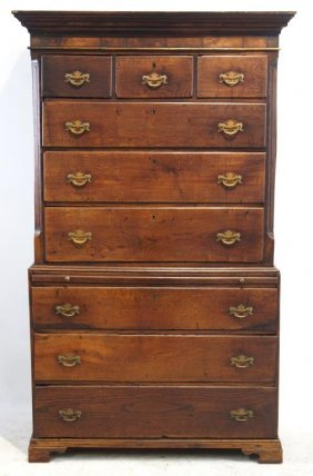 English Chippendale Chest On Chest Highboy Ca.1820