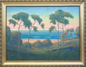 """William Dorsey Large 44""""x48"""" Oil Landscape"""