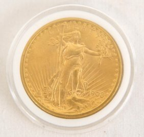 $20 Gold 1908 St. Gaudens Excellent