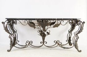 Hand Wrought Iron W Black Marble Top Center Table