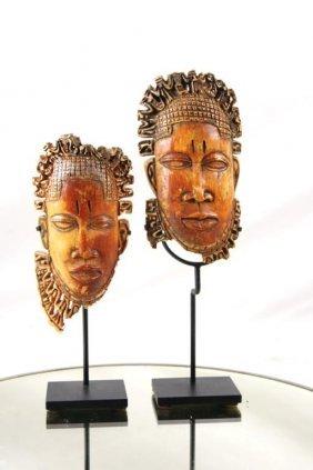 Pair Antique African Bone Carved Masks