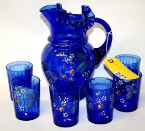 COBALT BLUE WATER PITCHER