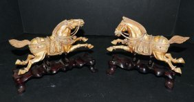 Pair Of Antique Carved And Jeweled Ivory Horses