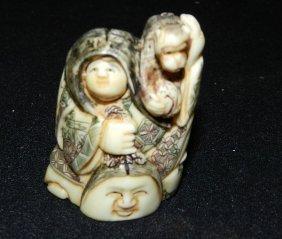 Large Antique Ivory Actor Netsuke