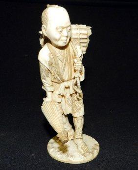 Signed Antique Carved Ivory Figurine