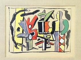 Fernand Leger Color Lithograph: Abstract Figure