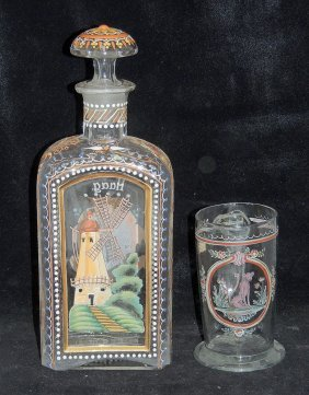 Bohemian Glass Decanter And Mug