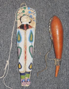 Plains Indian Beaded Cradleboard And Gourd Flask