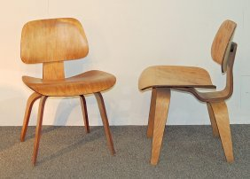 Pair Of Eames Dcw Plywood Chairs