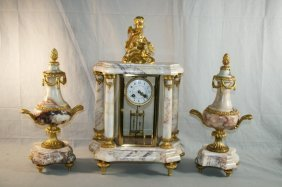 Gilt Metal And Marble French Clock/Garniture