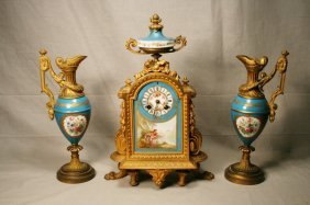 Sevres Gilt Porcelain Clock And Garniture
