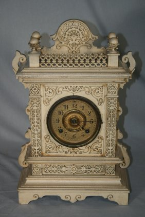 Victorian Carved Wood Mantle Clock