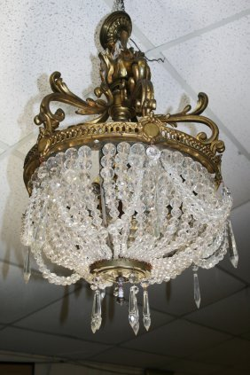 19thc Crystal And  Gilt Bronze Chandelier
