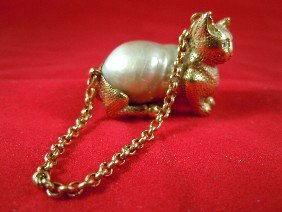 14kt Gold And Baroque Pearl Cat Pendant