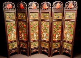 Chinese Jade, Coral, Ivory Miniature Screen