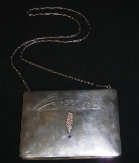 Russian Silver Gold & Sapphire Hand Bag