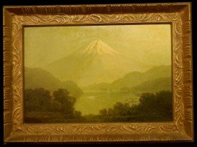 Rare Japanese Oil On Canvas, Mt. Fuji