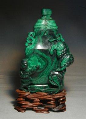 19thc. Malachite Urn On Wood Stand