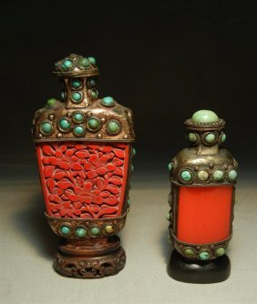 Pair Of 19thc. Snuff Bottles With Turquoise