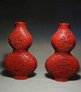 Pair Of 19thc. Double Gourd Wall Pockets