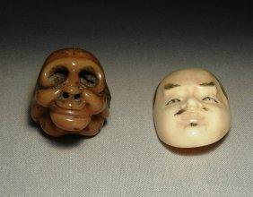 19thc. Ivory Netsuke As Masks