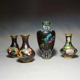 Group Of 19thc. Chinese Cloisonne Vases