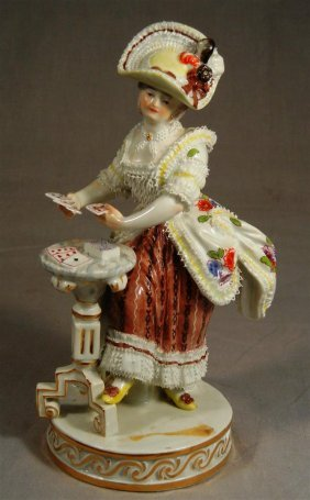 Meissen Figure Of Young Woman Playing Cards
