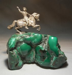 19thc. Malachite Rock With Soldier