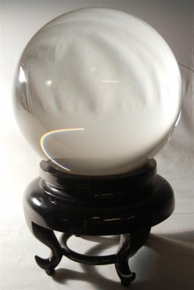 20thc. Crystal Sphere On Teak Base