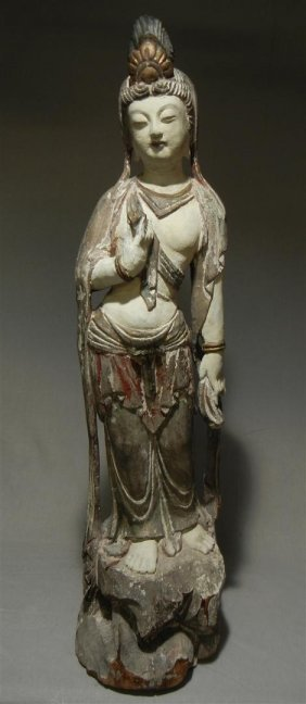 Tall Carved Wood Quanyin Sculpture
