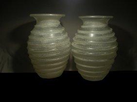Karl Mann, Pair Of Hand Blown Vases