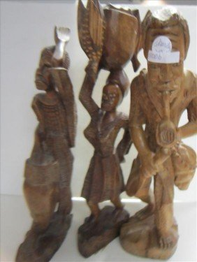 3 Pc Carved Wood Figures