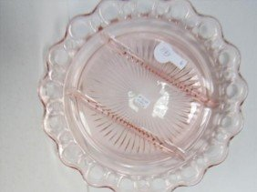 Pink Depression Glass Open Lace 3 Part  Divided D