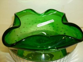 Green Glass With Bubbles Square Candy Dish