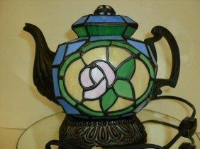 Tea Pot Lamp-leaded Glass-electric