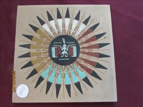 American Indian Sand Painting Marked Sam Eagle On Back