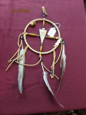Dream Catcher Buffalo Bone Carved With Feathers And