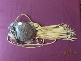 Turtle Shell Pouch With Leather Fringe, Beads And Long