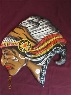 "Indian Chief Hanging Wall Decoration 17"" X 15"""