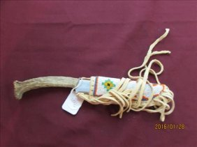 Knife In Beaded Leather Sheath - Knife With Stag Horn