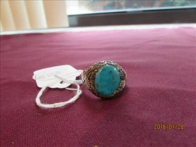 Sterling Men's Ring Turquoise Stones American Indian