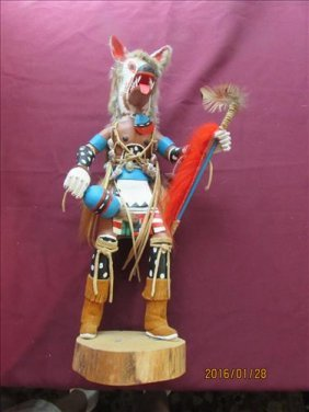 "Large Wolf Faced Kachina Doll By Dave J Nelson 18"" Tall"