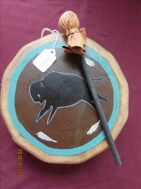 American Indian Skin Drum With Hand Painted Buffalo