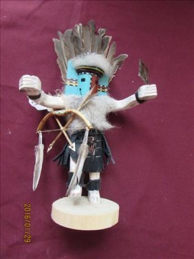 American Indian Kachina Doll With Bow And Arrow